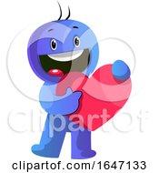 Poster, Art Print Of Blue Cartoon Man Holding A Love Heart