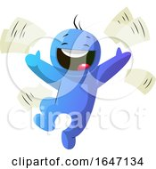 Poster, Art Print Of Happy Blue Cartoon Man Tossing Paperwork Into The Air