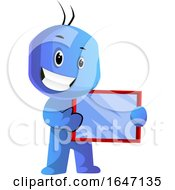 Poster, Art Print Of Happy Blue Cartoon Man Holding A Tablet