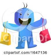 Poster, Art Print Of Happy Blue Cartoon Man With Shopping Bags