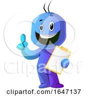 Poster, Art Print Of Happy Blue Cartoon Man Holding A Clipboard