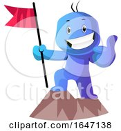 Poster, Art Print Of Successful Blue Cartoon Man With A Flag On A Mountain Top