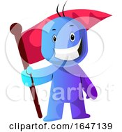 Poster, Art Print Of Blue Cartoon Man With A Flag