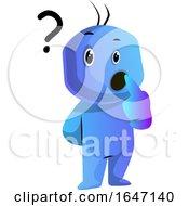 Poster, Art Print Of Confused Blue Cartoon Man