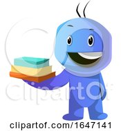 Poster, Art Print Of Blue Cartoon Man Holding Books