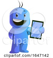 Poster, Art Print Of Blue Cartoon Man Holding A Tablet
