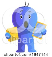 Poster, Art Print Of Surprised Cartoon Man Holding A Book And Tablet