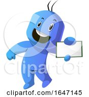 Poster, Art Print Of Energetic Cartoon Man Holding Out A Business Card