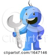 Cartoon Man Holding A Giant Spanner Wrench by Morphart Creations