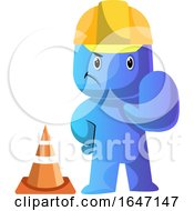 Cartoon Blue Man Construction Worker Gesturing Stop By A Cone