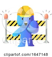 Cartoon Blue Man Construction Worker Gesturing Stop By A Barrier