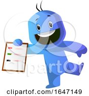 Poster, Art Print Of Cartoon Blue Man Holding A Clipboard With A List