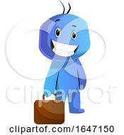 Poster, Art Print Of Cartoon Blue Man Carrying A Briefcase