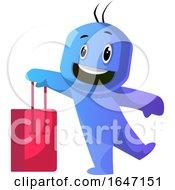Poster, Art Print Of Cartoon Blue Man Carrying A Shopping Bag