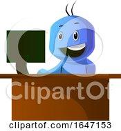 Cartoon Blue Man Using A Computer At His Work Desk