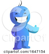 Happy Cartoon Blue Man Presenting Or Giving A Thumb Up