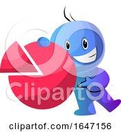 Poster, Art Print Of Happy Cartoon Blue Man Holding A Pie Chart
