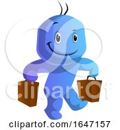 Cartoon Blue Man Carrying Grocery Bags