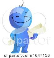 Cartoon Blue Man Architect Holding Blueprints
