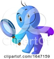 Cartoon Blue Man Looking Through A Magnifying Glass
