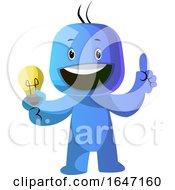Poster, Art Print Of Cartoon Blue Man With An Idea