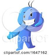 Poster, Art Print Of Cartoon Blue Man Gesturing Call Me