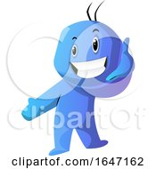 Cartoon Blue Man Gesturing Call Me