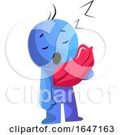 Cartoon Blue Man Sleeping Upright With A Pillow