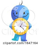 Poster, Art Print Of Cartoon Blue Man Holding A Clock