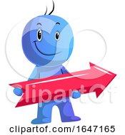 Cartoon Blue Man Holding An Arrow