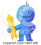 Poster, Art Print Of Cartoon Blue Man Holding An Arrow