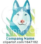 Husky Dog Logo Design With Sample Text
