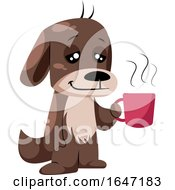 Relaxed Dog Holding A Cup Of Hot Coffee by Morphart Creations
