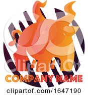 Orange Bull Logo Design With Sample Text by Morphart Creations