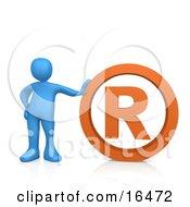 Blue Person Leaning Against An Orange Registered Trademark Symbol
