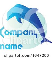 Blue Dolphin Logo Design With Sample Text