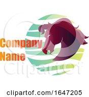 Purple Horse Head Logo Design With Sample Text
