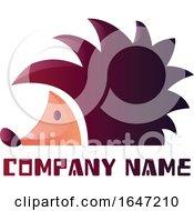 Purple Hedgehog Logo Design With Sample Text