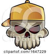Poster, Art Print Of Skull Wearing A Backwards Baseball Hat