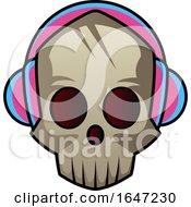 Poster, Art Print Of Skull Wearing Headphones