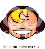 Happy Blond Boy Wearing Headphones by Morphart Creations