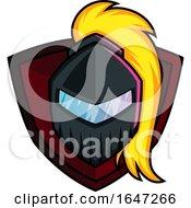 Knight Or Warrior Helmet Over A Shield