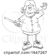 Cartoon Black And White Hillbilly Woman Holding A Gun And Waving