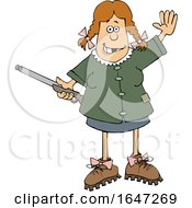 Cartoon Hillbilly Woman Holding A Gun And Waving
