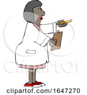 Cartoon Black Female Scientist Holding Out A Pencil And Clipboard