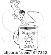 Cartoon Lineart Black Man Diving Into A Giant Coffee Mug