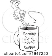 Cartoon Black And White Man Diving Into A Giant Coffee Mug