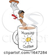 Cartoon Black Man Diving Into A Giant Coffee Mug