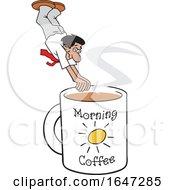 Cartoon Hispanic Man Diving Into A Giant Coffee Mug