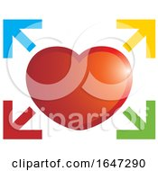 Poster, Art Print Of Red Heart And Colorful Arrows